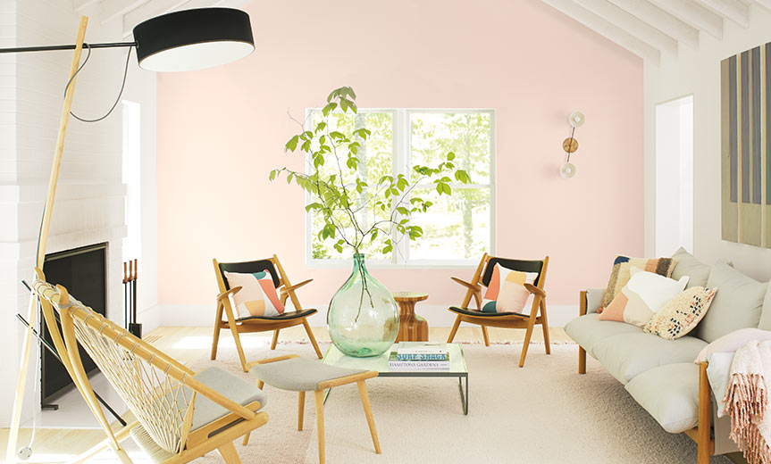a bright room painted in Benjamin Moore Colour of the year 2020 First Light